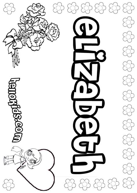 Name Coloring Pages Elizabeth Girly Name To Color