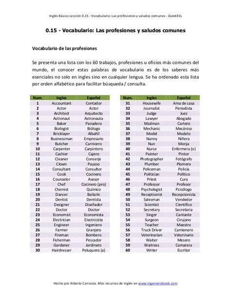 imagenes de profesiones en ingles y español lista de profesiones en ingl 233 s y espa 241 ol imagui