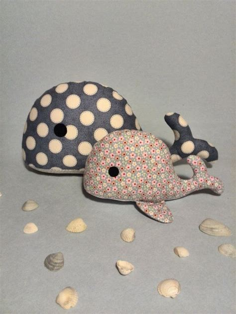 Handmade Fabric Toys - stuffed whale baby shower gift child friendly