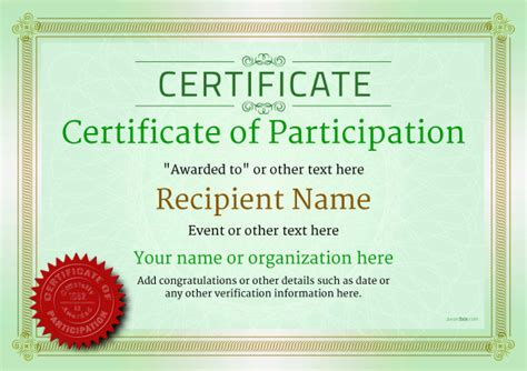 certificate of participation templates for ms word professional