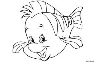 free coloring pages flounder mermaid
