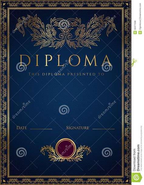 blue diploma certificate background with border royalty