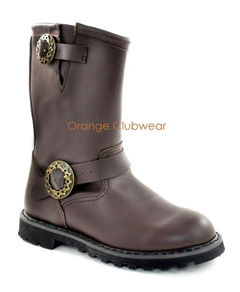 demonia steam s brown leather motorcycle boots