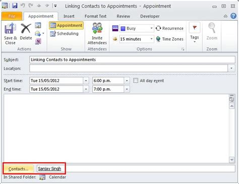 make outlook calendar event linking contacts to calendar appointments in outlook ms