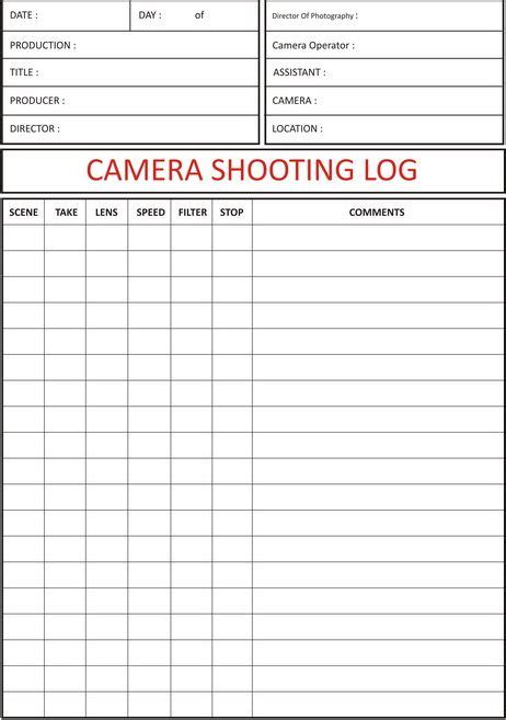 production book template shooting log shooting log sheet
