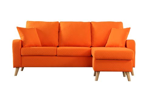 Orange Sectional Sofa Modern Fabric Small Space Sectional Sofa W Reversible Chaise In Orange Ebay