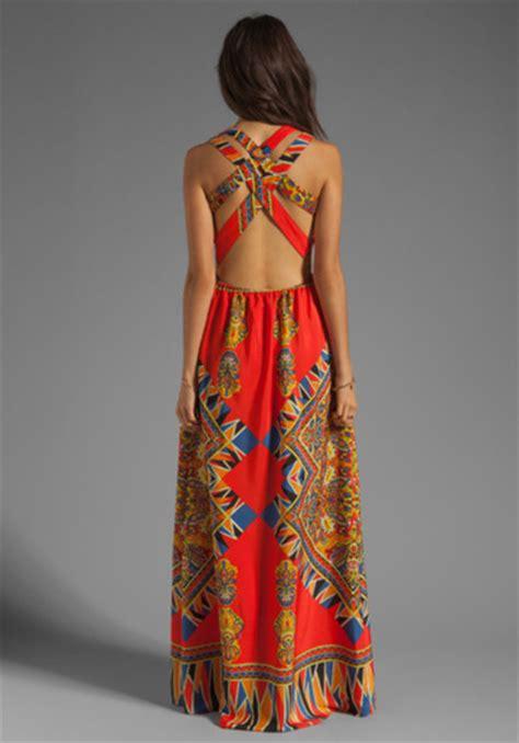 023775rforever21 Bohemian Waving Pattern Opening Orange 1 dress bohemian print maxi maxi dress orange pattern