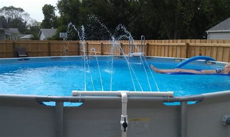 pool fountain ideas above ground pool water falls above ground pool