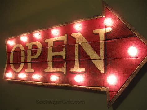 light up open closed sign pallet wood open sign with lights diy scavenger chic
