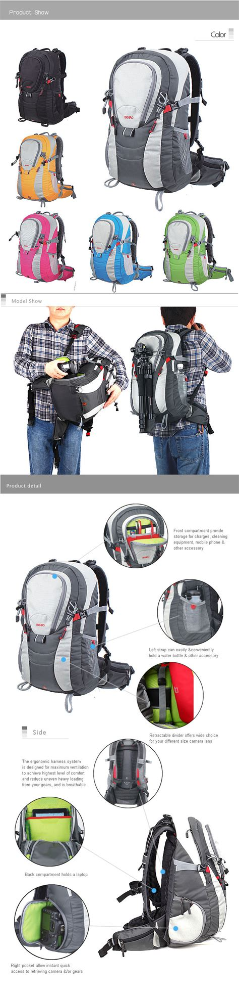 Benro Backpack Colorful 200 Black benro hummer 200 black hummer series backpack 32x28x56cm benro store