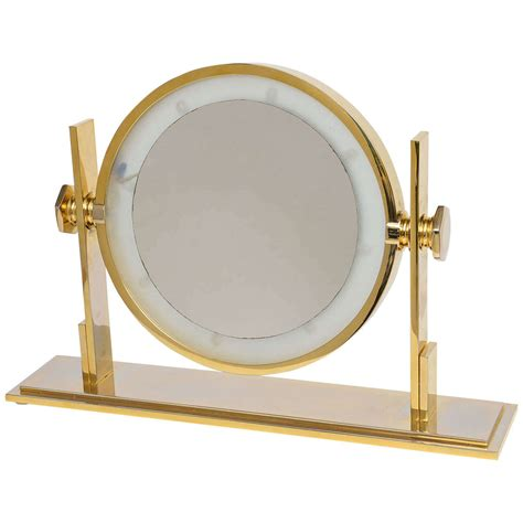 Best Vanity Mirror by Karl Springer Lighted Table Top Vanity Mirror At 1stdibs