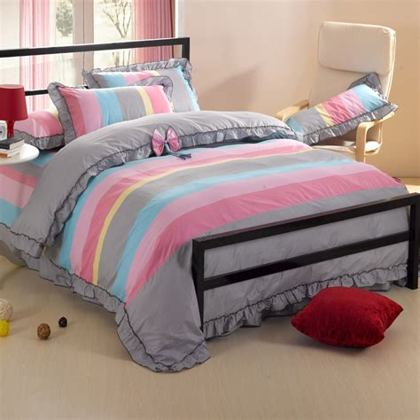 cute queen bedding 100 cotton home textile 4piece set casual cute sheets