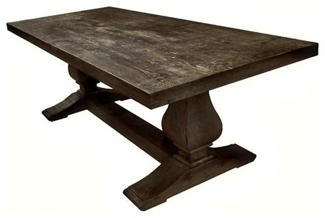 Aico Dining Room Furniture by Antiqued Wood Double Pedestal Trestle Rectangular