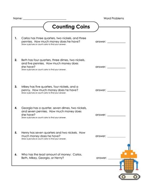 Algebra Coin Word Problems Worksheet counting coins word problems coins read more and count