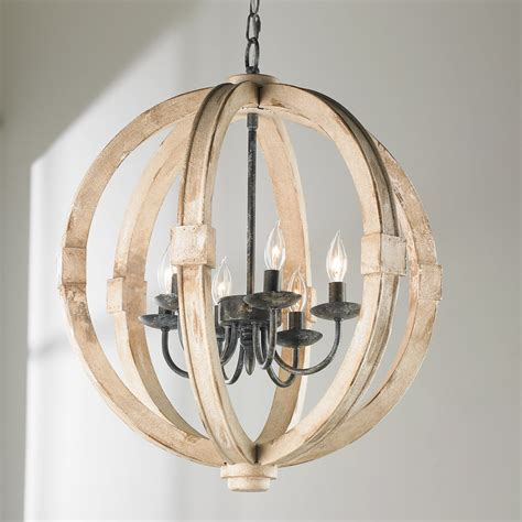 distressed wood sphere chandelier shades of light