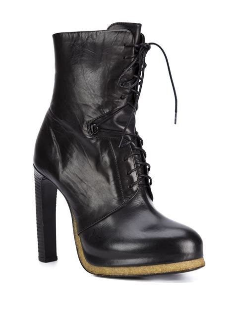 high heels lace up boots vic mati 233 high heel lace up boots in black lyst