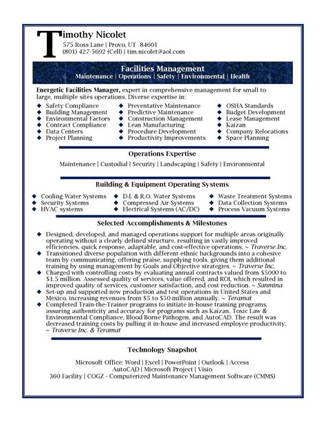 Resume Template Professional resume sles professional facilities manager resume