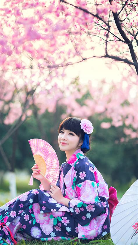 sakura season japanese girl japan wallpapers  iphone