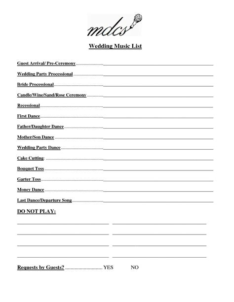 Wedding Songs List by Wedding List Template Free Fosterhaley Wedding