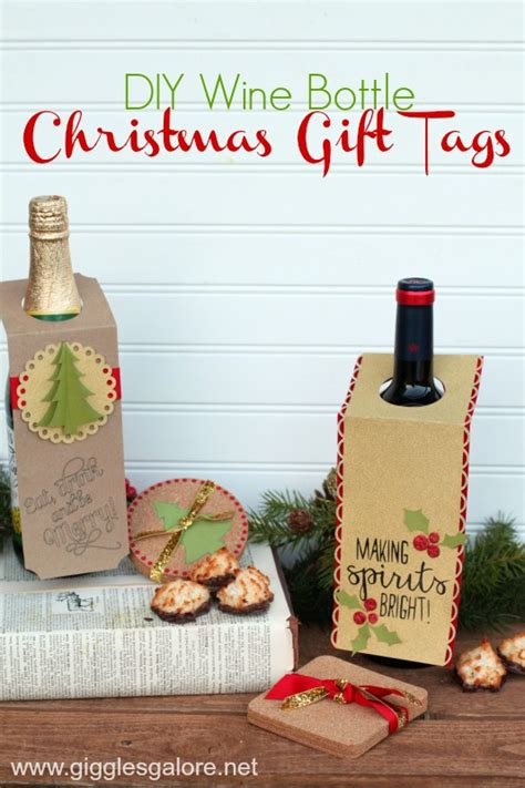 diy christmas wine bottle gift tags giggles galore