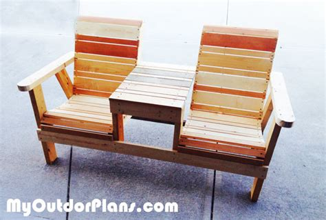 double benching diy double chair bench with table myoutdoorplans free