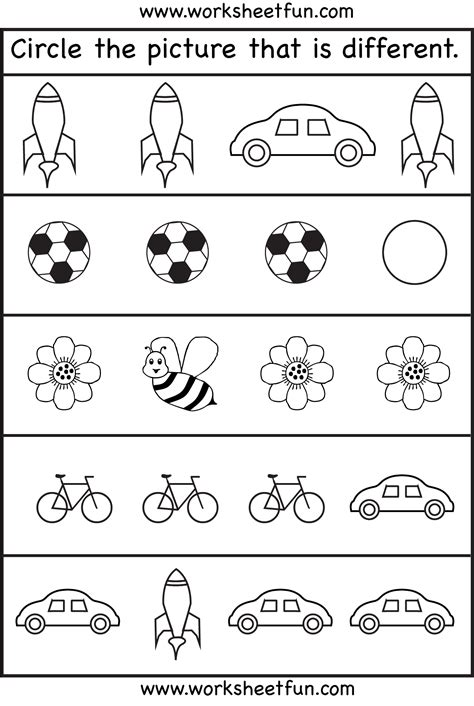 printable toddler activities free circle the picture that is different 4 worksheets