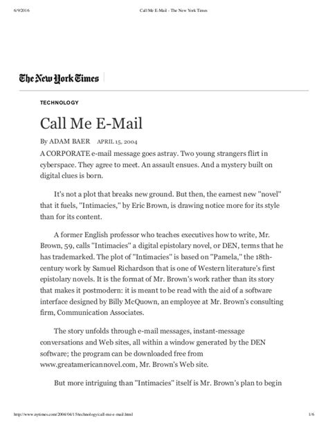 email format new york times call me email the new york times by adam baer