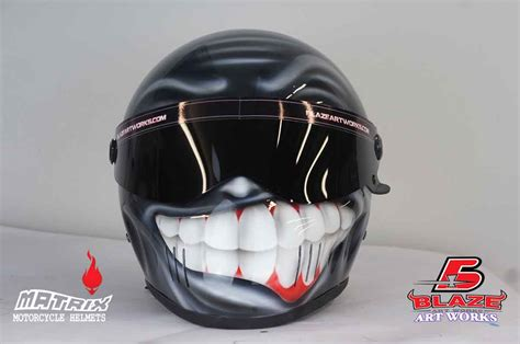 Handmade Motorcycle Helmets - custom airbrushed smiley motorcycle helmet