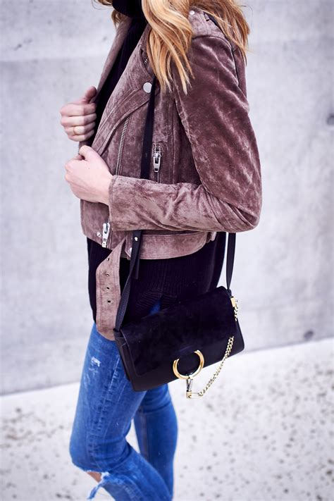 Tas Denim Kolese Denim Suede fashion jackson handbag blanknyc morning suede moto jacket ripped denim