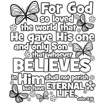 john 3: 16  17 colouring pages