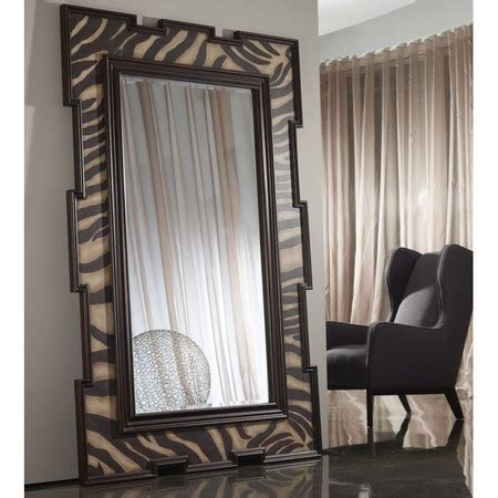 poplar wood floor mirror with an exotic zebra print frame