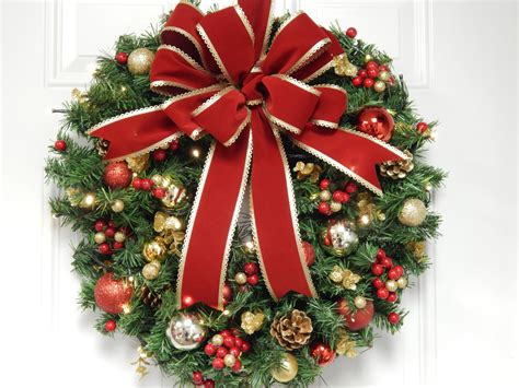 Christmas Wreath Artificial Wreath Lighted Wreath Red