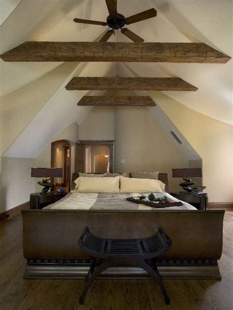 master bedroom  cathedral ceiling  rustic fir