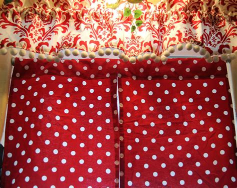 Red And White Polka Dot Curtains With Valance By Polka Dot Kitchen Curtains