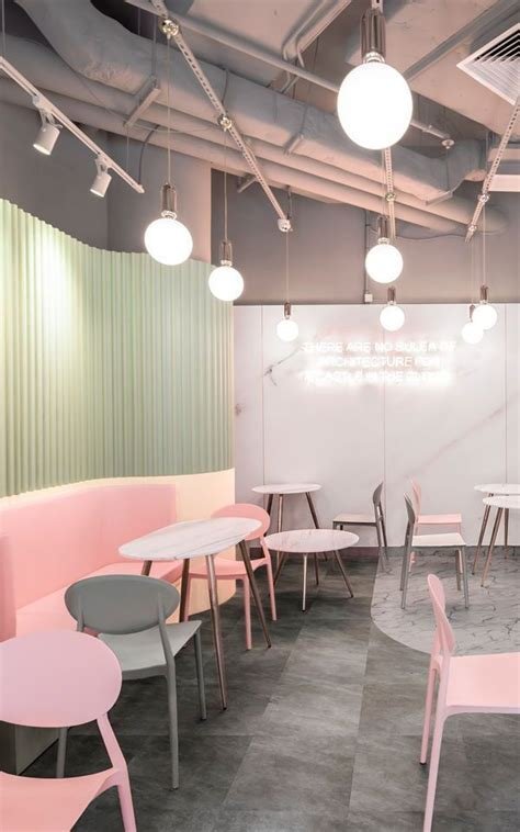soft pastel pink marble wallpaper mural cafe interior