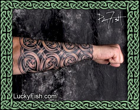 pat fish tattoo darklord armor celtic knot forearm sleeve