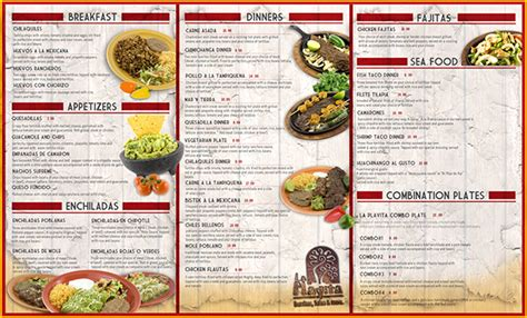 menu design project menu design for quot la playita quot mexican restaurant on behance