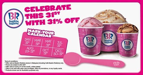 Baskin Robbins Gift Card Malaysia - baskin robbins 31 off promotions and sales info in malaysia