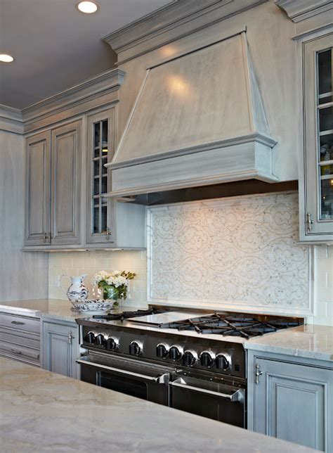 Light Grey Distressed Kitchen Cabinets la dolce vita quartzite countertops transitional