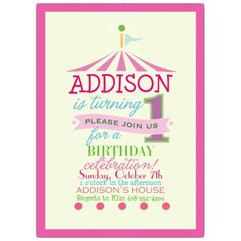 birthday invitations pink circus photo 1st birthday invitations paperstyle