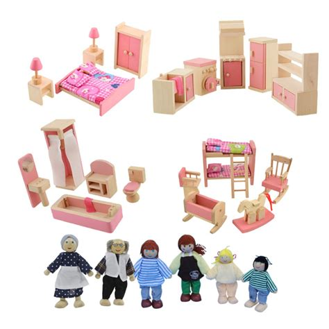 furniture for a doll house 1set wooden doll furniture for girls new year gift wooden doll bedroom dollhouse miniature
