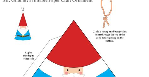 printable paper gnomes quirky artist loft free paper craft mr gnome ornament