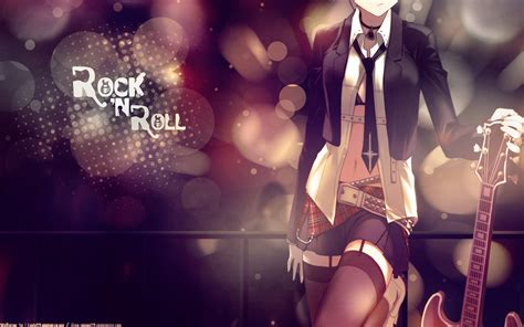 anime girl rock wallpaper rock n roll full hd wallpaper and background image