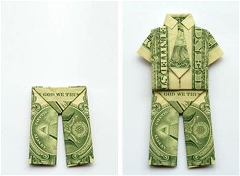 Money Origami Tutorial - trousers money origami and and dresses on