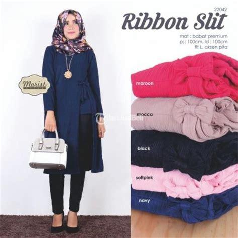 Atasan Wanita Berkualitas Premium Jfashion Tunik Kemeja Kotak Tangan ribbon slit baju atasan wanita muslimah modern harga murah terbaru dijual tribun jualbeli