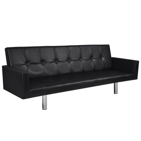 Artificial Leather Sofa Bed With Armrests Black Vidaxl Com Sofa Bed Leather Black