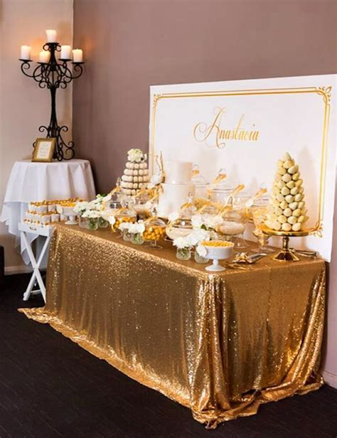 2017 Hot 90in By 156in Wholesale Gold Sequin Tablecloths