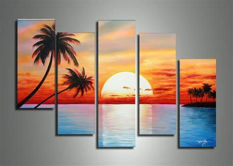 unique painting 5014 handmade 5 piece blue red landscape wall art oil