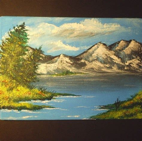 acrylic painting mountains painting 7x5 original acrylic landscape mountain