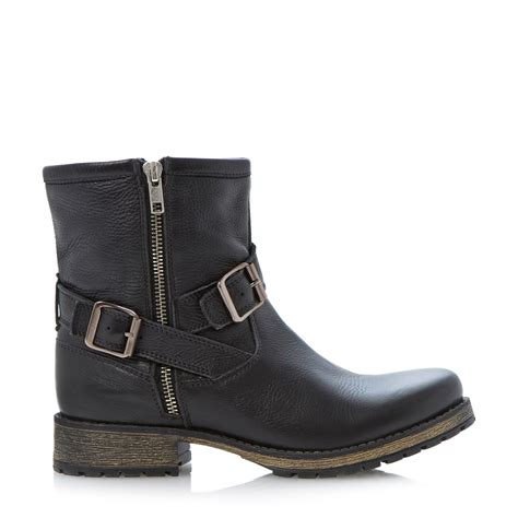 ankle boots dune promiss buckle biker ankle boot in black black